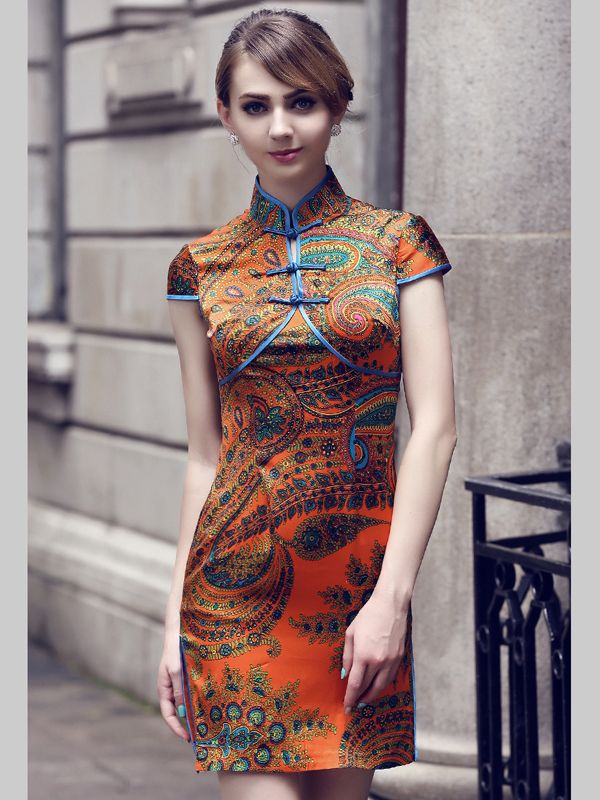 Ethnic Colorific Design Chinese Silk Dress