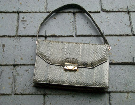 Vintage Lucalsax Genuine Python Snakeskin Flap by OhlalaaVintage