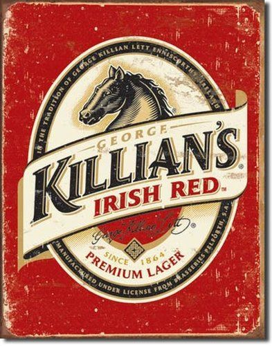 Vintage Beer Sign George Killians Irish Red Lager Tin Bar Horse Logo