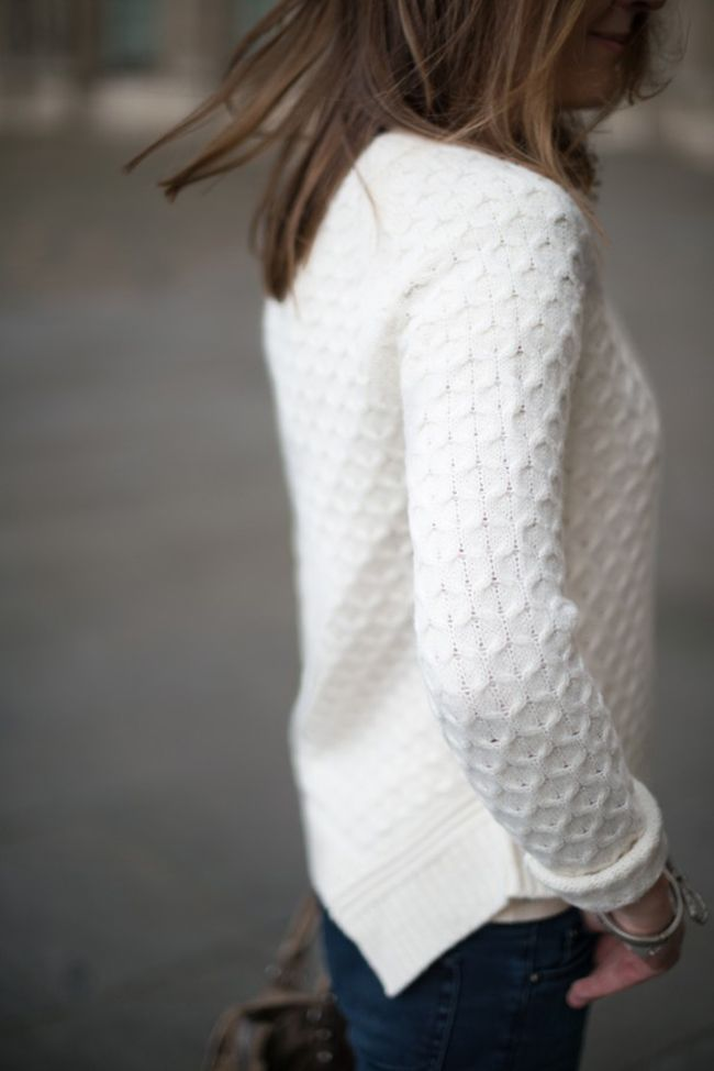 Hint stylist - would love a white sweater like this!!! maybe with a pocket in the front - maybe a little bit longer. :)
