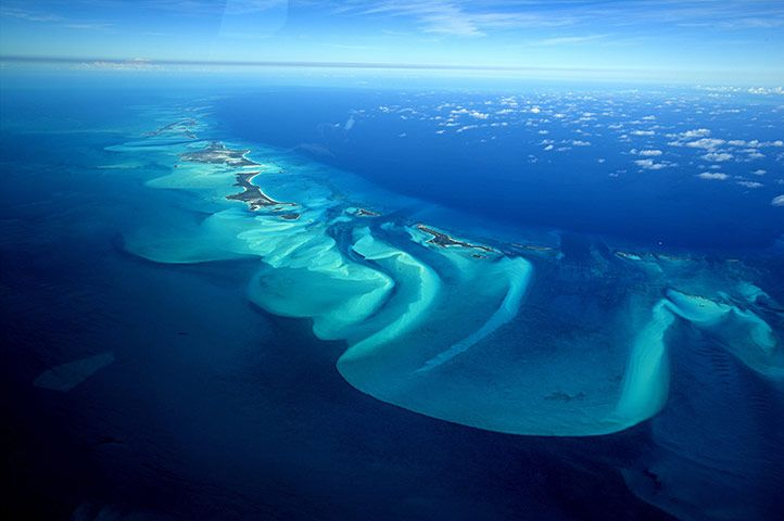 An aerial view of Exuma, part of the chain of 365 islands that form the Bahamas