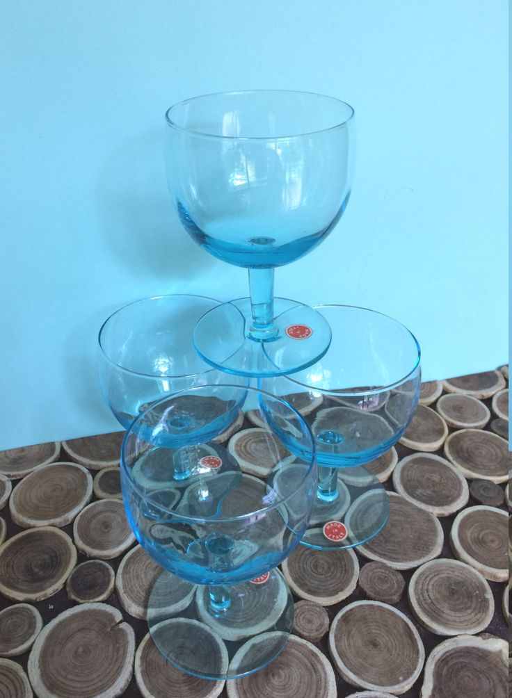 Wine Glasses - Made in Italy - Murano - Aqua/Turquoise - Set of 4 - Midcentury Modern Vintage Barware or Tableware by 20thCKitchenAndTable on Etsy