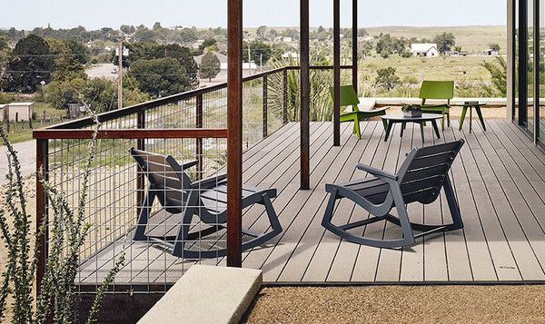 Toby Rapson, son of midcentury architect Ralph Rapson, collaborated with outdoor furniture designer and manufacturer Loll Designs to create a modern version of the Rapid Rocker. Part of the Rapson Collection, the Rapson Rocking Chair is made from 100 percent recycled plastic—primarily milk jugs—honoring Rapson
