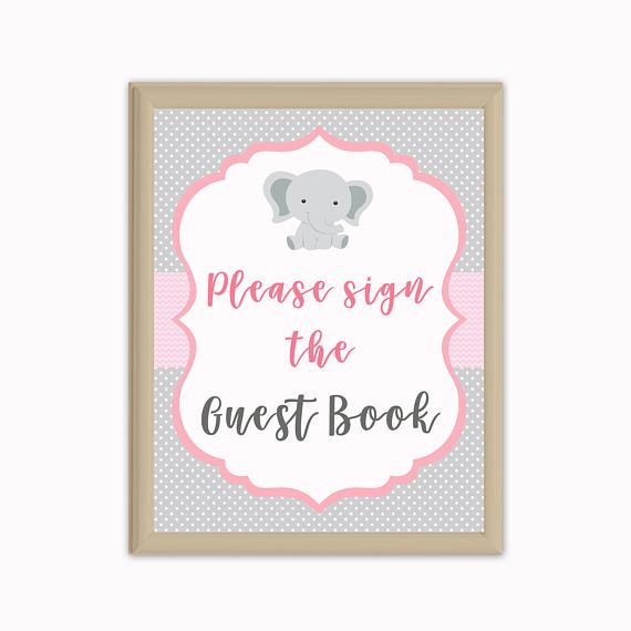 Elephant Guest Book Sign, Guest Book Baby Shower Sing, Party Sign,  Printable Sign, INSTANT DOWNLOAD. Elefanten BabypartyGästebücherEinladungen  ...