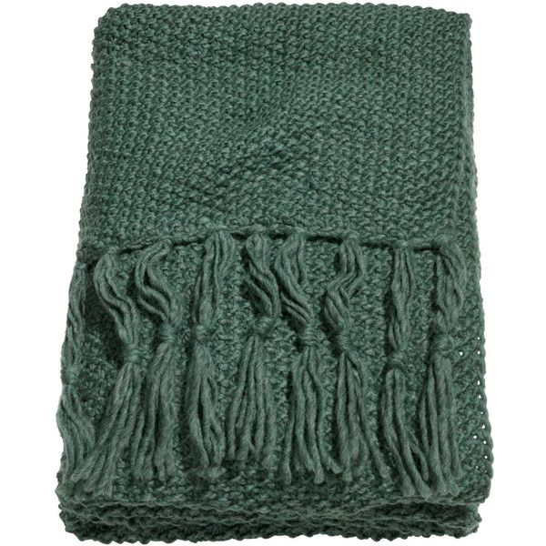 H&M Moss-knit blanket ($58) via Polyvore featuring home, bed & bath, bedding, blankets, blanket, dark green, throw, knit throw, knit blanket and dark green bedding