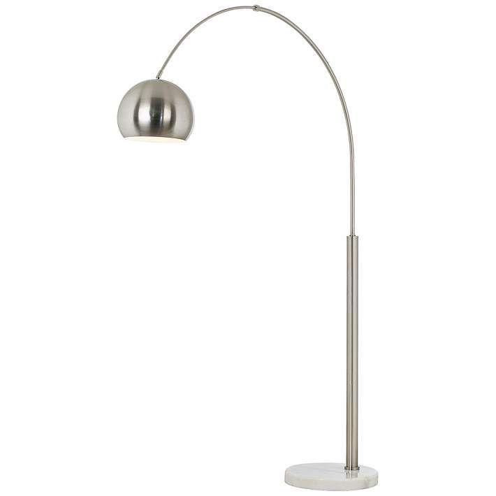 Basque Steel and Brushed Nickel Arc Floor Lamp - #P9457 | Lamps Plus