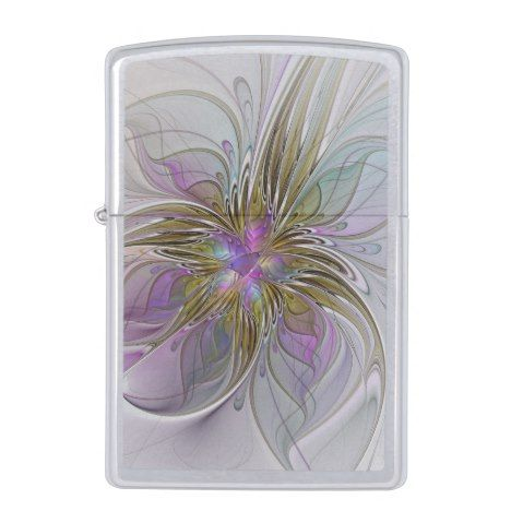 Floral Colorful Abstract Fractal With Pink & Gold Zippo Lighter