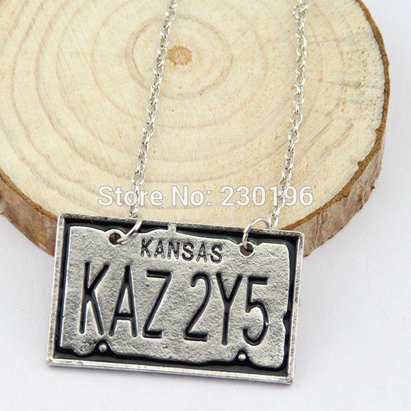 Supernatural Kansas KAZ 2Y5 License Plate Number Pendant Necklace Vintage Necklace