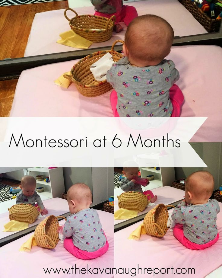 Montessori Work Shelves at 6 Months -- fabric basket for babies.