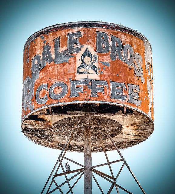 Dale Bros Coffee Can sign (c1937), Fresno, Merced, California: the building has been purchased recently and the owners intend to renovate both the building - AND the sign (according to online sources...)