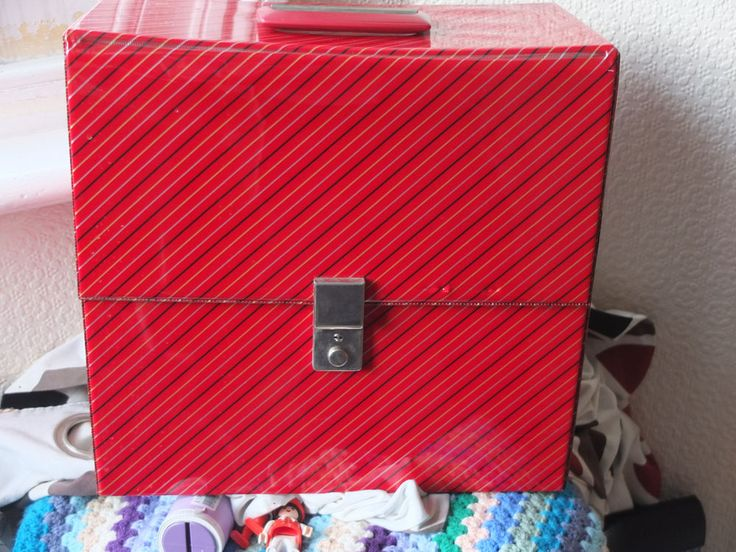 Vinyl LP Record album Storage Box Carry Case vintage stripey vintage #vinyl 80s