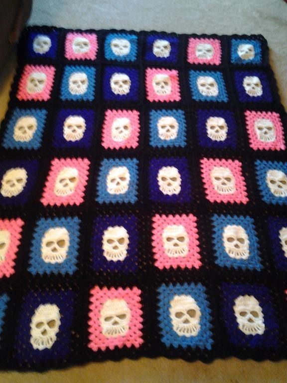 Skully Square Pattern Patterns, Blankets and Crochet