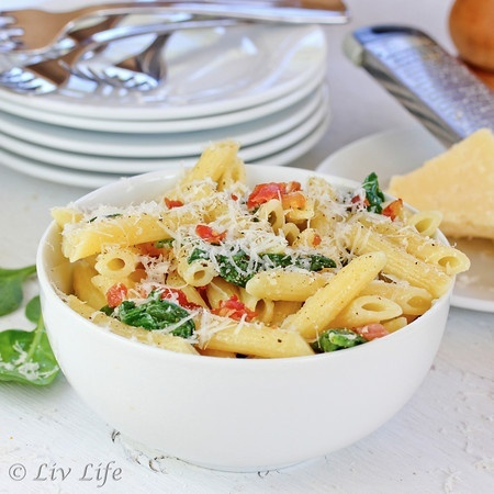 Pasta with prosciutto and parmesan from @livlifetoo Yes please!!