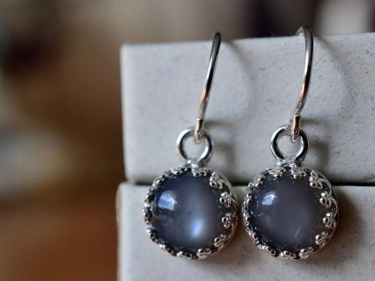 Grey Moonstone Earrings, Natural Gemstone Drops, Sterling Silver Jewellery