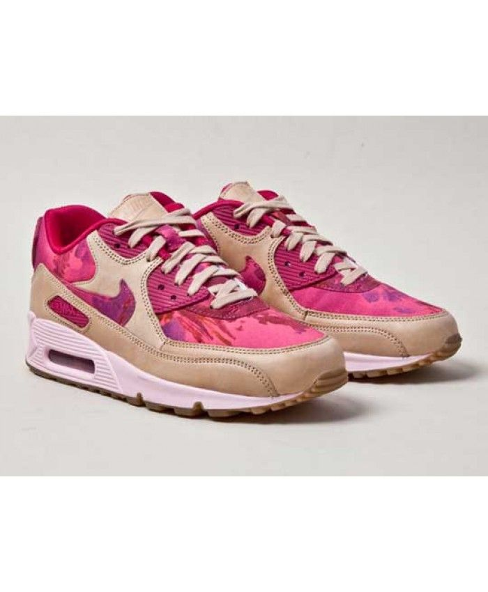 Nike air max 90 trainers flowers pretty pink and beige women shoes nike football shoes hypervenom nike rosheluxury fashion brands