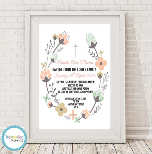 Floral Christening Print by Bespoke Moments. Worldwide Shipping Available.