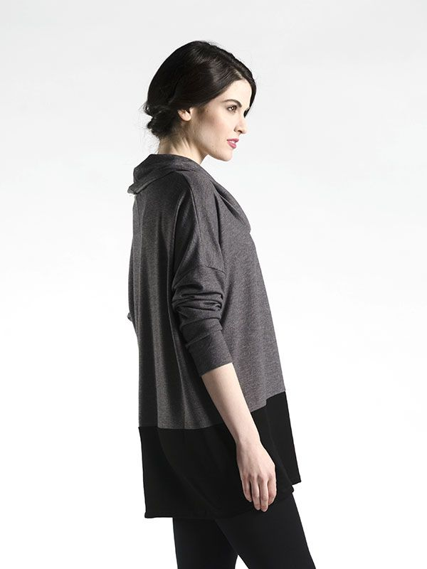 Two-Tone Tunic with Cowl Neck - A workhorse piece that will suit  your every mood this fall season!  A two-tone tunic is the perfect way to add a little colour while still keeping things subtle.  A cozy cowl neck makes this a wonderful piece for the fall!  Available in Red, Black, Brown, Rust, and Grey.