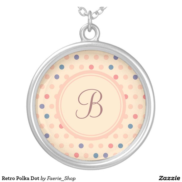 Retro Polka Dot Silver Plated Necklace #faerieshop #vintage #circle #polka #dot #trendy #pattern #retro #monogram #geometric #monogram #style #simple #abstract #old #design #beige #peach #red #blue #beautiful #fashion #modern #print #background #sale #zazzle #monogram #edit #customizable #accessories