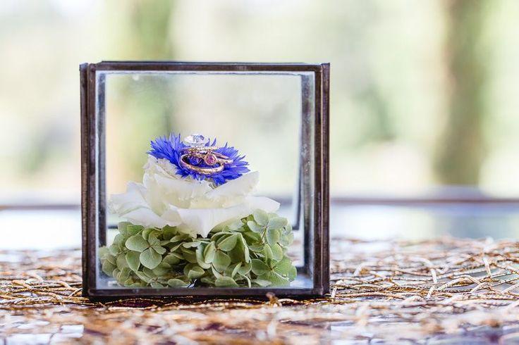 Ringkissen Glas mit Hortensien fuer Hochzeitszeremonie. Foto Monika Schloffer Photography