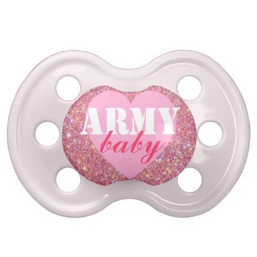 """Army baby"" Girls Patriotic Military Pacifier"