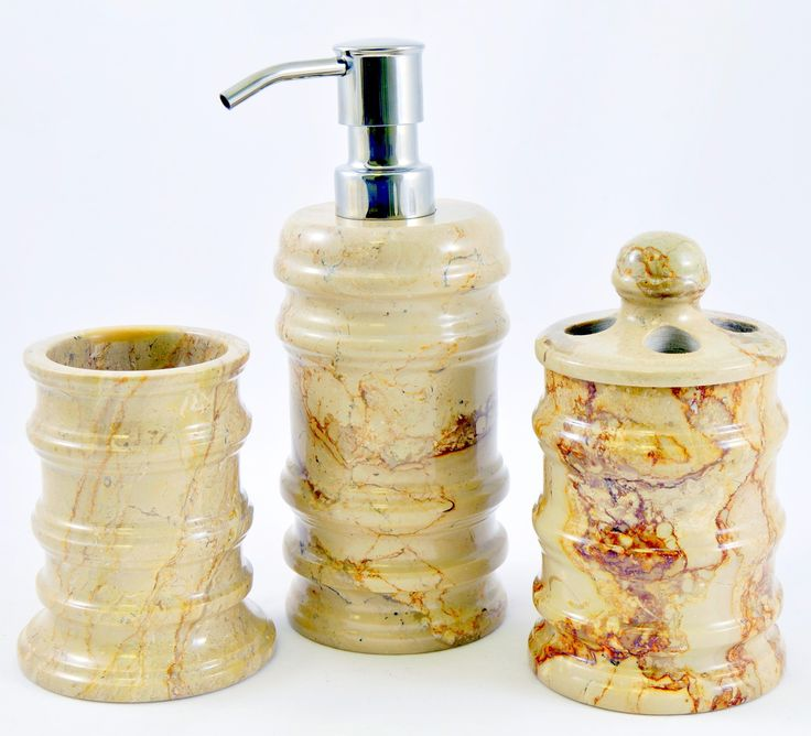 Bengal 3 Piece Sahara Beige Marble Bathroom Accessory Set