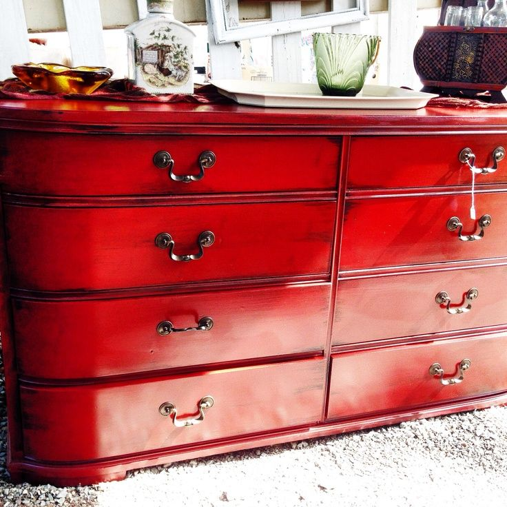 Red Distressed Furniture | Red distressed dresser by Anthony Marie Restored Finds #furniture # ...