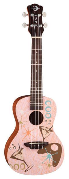 Luna Pink Martini 50s Style Ukulele with Gig Bag and Chromatic uke tuner. The new Luna Pink Martini is the latest in the new line of Luna's 50s inspired ukulele series that also include the Daddy-O and the Radioactive. All three  ukuleles are professional quality instruments that feature Aquila  strings, geared tuners, solid construction and an outrageous sense of vintage style.Oh, and registered owners get free online lessons from Luna University and recognition as being one of the cool…