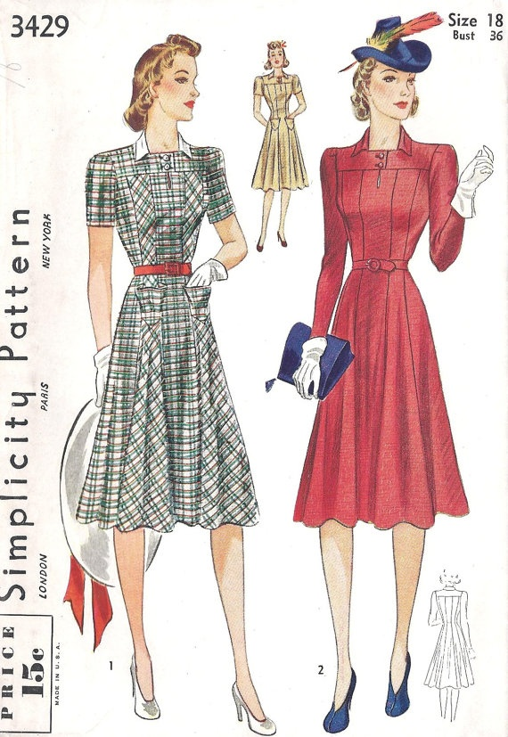 1940s Misses Tailored Dress Vintage Sewing by MissBettysAttic, $30.00