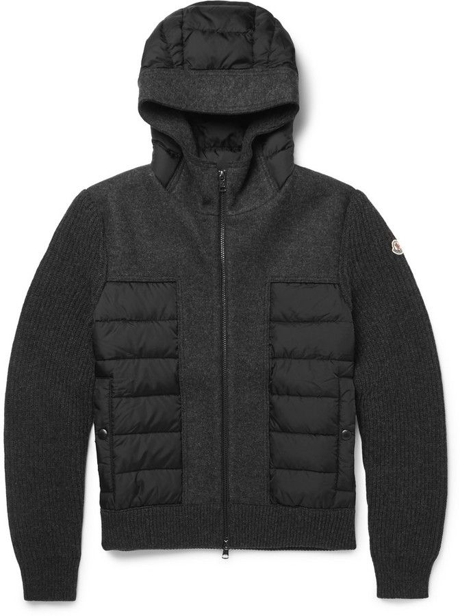 Moncler Hooded Wool and Shell Down Jacket