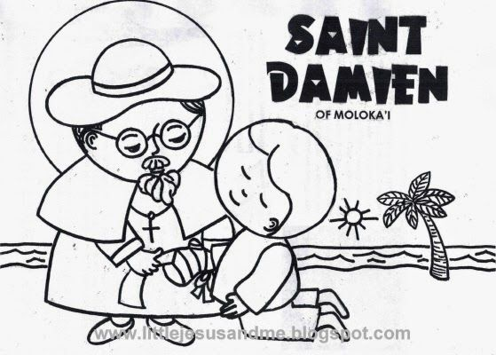 little jesus and me blog coloring pages simple to color saint damien father damien coloring page follow instructions on the web page to print coloring - Father Coloring Page Catholic