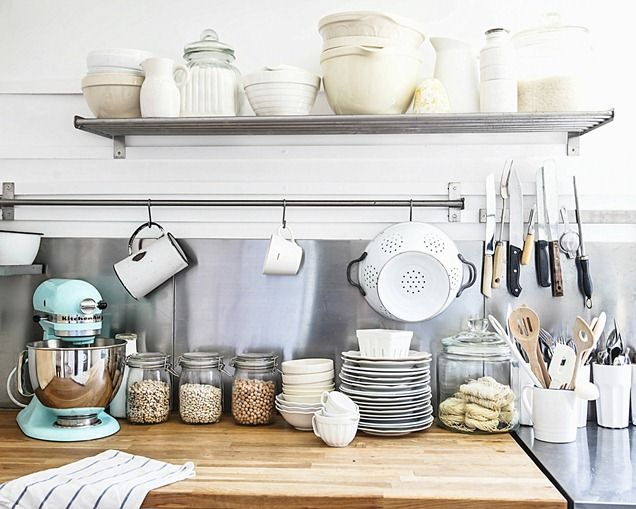 beach cottage decorating blog ikea kitchen. I want the blue kitchen-aid mixer!!