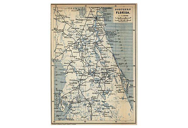 Map of Northern Florida, 1909 on OneKingsLane.com