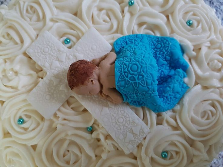 Baby Boy Christening Cake with Cross