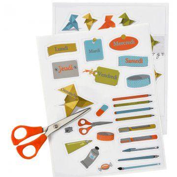 des autocollants imprimés sur mesure aux motifs de crayons, ciseaux, taille crayon, bonbon, cocottes en papier, étiquettes avec les jours de...