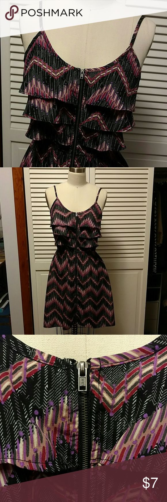 Xhiliration aztec chevron print ruffle zip dress Xhiliration aztec chevron print ruffle zip dress. Lightweight dress with aline slight flare shape. Full zip front, adjustable straps. Great dress for going out, day time casual or even as an easy beach cover up! Xhilaration Dresses