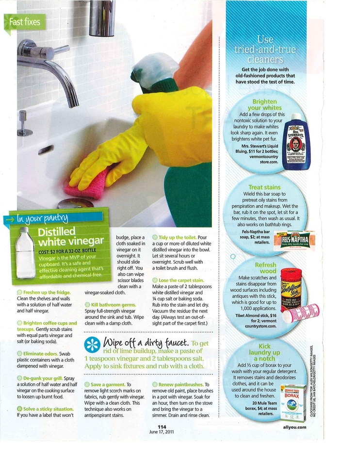 Vinegar Cleaning Hints