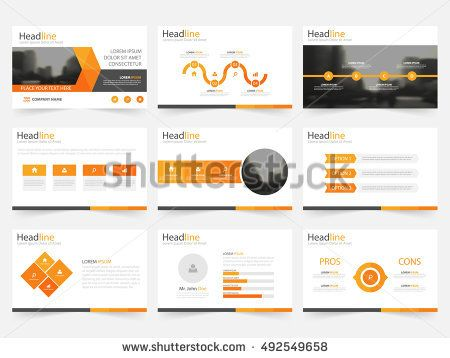 Orange triangle presentation templates, Infographic elements  flat design set for annual report brochure flyer leaflet marketing advertising banner