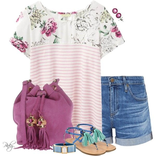 Striped Tee & Fringed Accessories by pinkystyle on Polyvore featuring polyvore, fashion, style, Joules, AG Adriano Goldschmied, GUESS, Argento Antico, Prada, Honora and clothing
