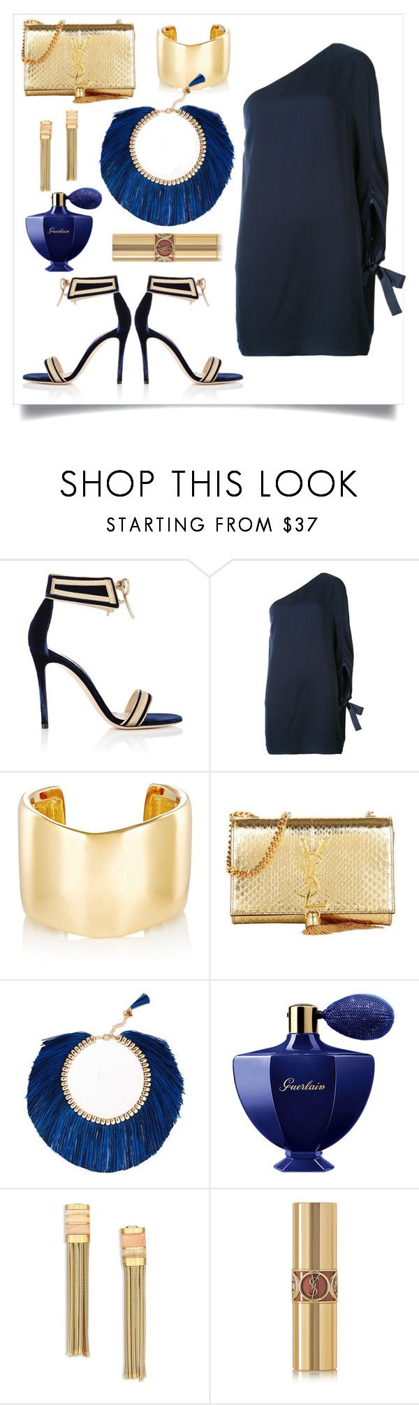 """blue..."" by slavulienka on Polyvore featuring Gianvito Rossi, Halston Heritage, Jennifer Fisher, Yves Saint Laurent, Rosantica, Guerlain and Lanvin"