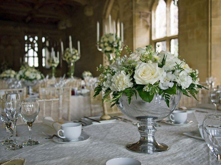 Elegant Punch Bowl Style Flower Arrangements For A Wedding