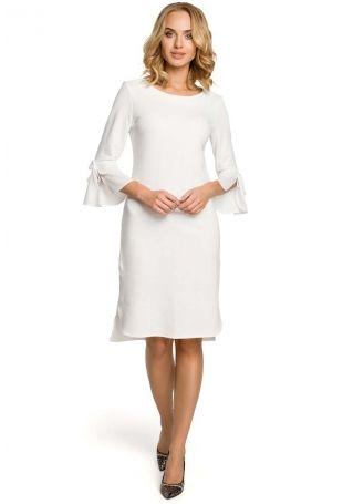 dc471751ff Ecru Sukienka Prosta Dzianinowa z Białym Mankietem