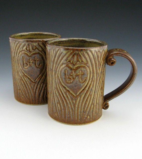 tree-carved initials mugs. wedding gift idea.