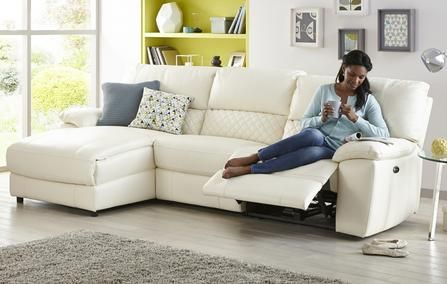Grid Option F Leather and Leather Look Left Hand Facing Chaise End Electric Recliner Sofa Ultimate