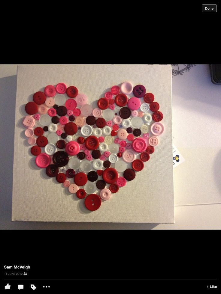 Button heart on canvas x