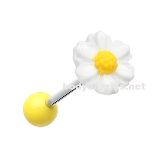 Adorable Daisy Acrylic Barbell Tongue Ring  14ga Surgical Steel