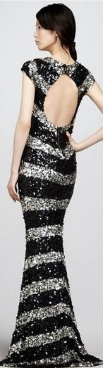 ALICE + OLIVIA  Black Sequinstripe Gown | More bling here: http://mylusciouslife.com/photo-galleries/bling-fling/