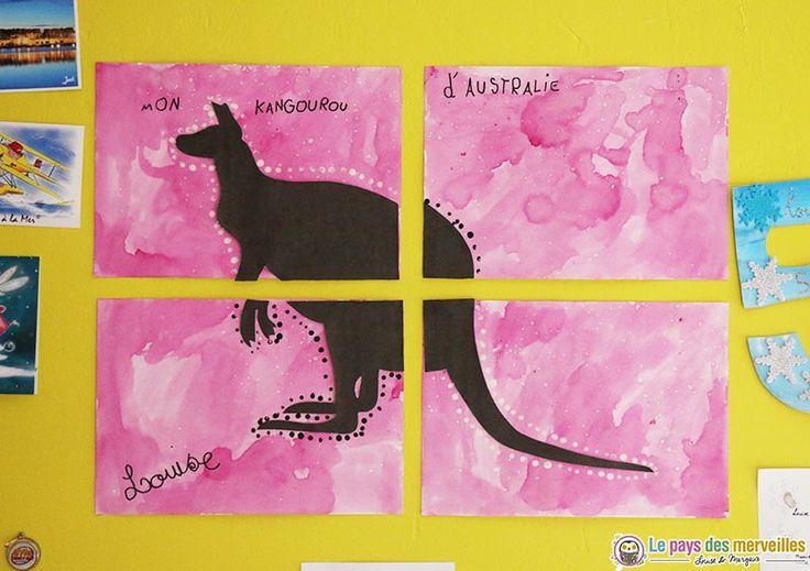 """Pour répondre au thème du safari de """"l'art est un jeu d'enfant"""", Louise a réalisé un quadriptyque avec de la peinture végétale (jus de betterave)"""