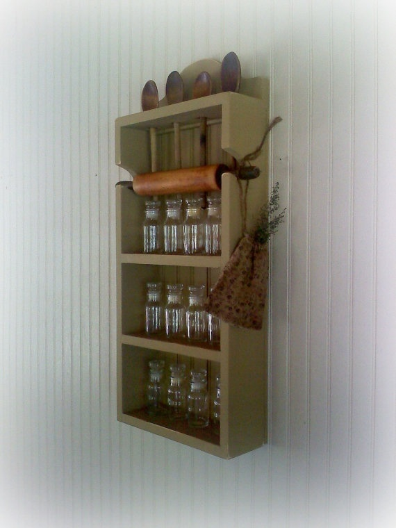 Spice Rack Rolling Pin Spoon Collectibles Shelf by FirecrackerKid, $35.00