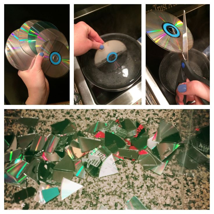 How to cut CDs for craft projects/mosaic work. Hold the CD in VERY hot water for 10-15 seconds, then begin cutting with sharp scissors. If you hear a splitting noise, put it back in the water and reheat it to avoid shattering the CD. Time consuming, but worth it!