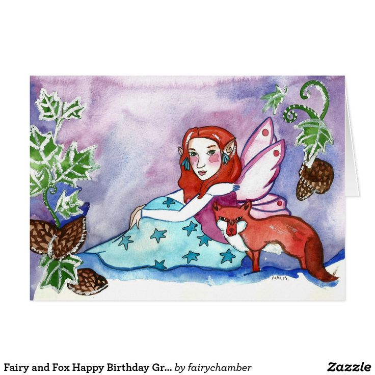 Fairy and Fox Happy Birthday Greeting Card